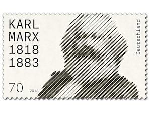 200. Geburtstag Karl Marx, Briefmarke zu 0,70 EUR, 10er-Bogen