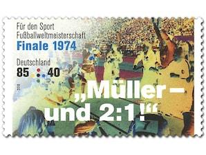 Legendäre Fußballspiele - Finale 1974,  Briefmarke zu 0,85 + 0,40 EUR, 10er-Bogen