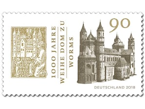 1000 Jahre Weihe Dom zu Worms, Briefmarke zu 0,90 EUR, 10er-Bogen