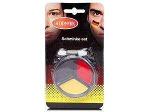 Schminke mit Applikator, Farben Schwarz, Rot Gelb