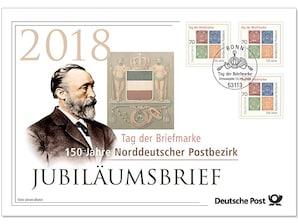 """Jubiläumsbrief: """"150 Jahre Norddeutscher Postbezirk"""""""