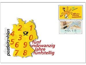 """Gedenkbriefumschlag """"25 Jahre neue Postleitzahl"""""""