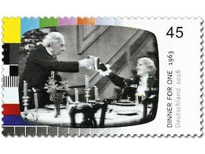 Dinner for One, Briefmarke zu 0,45 EUR, 10er-Bogen