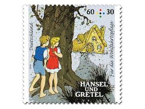 """Bild Briefmarke """"Hänsel und Gretel - Die Kinder im Wald"""" 60 + 30 ct"""