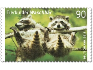 Waschbär, Briefmarke zu 0,90 EUR, 10er-Bogen