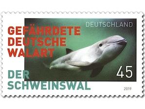 Der Schweinswal, Briefmarke zu 0,45 EUR, 10er-Bogen