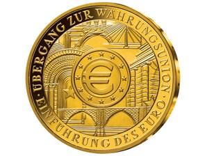 Gold-Numisblatt 200-Euro Uebergang zur Waehrungsunion-Einfuehrung des Euro