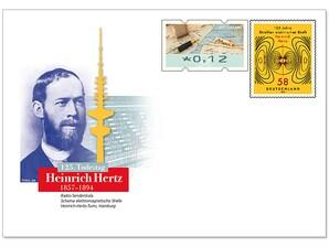 """Gedenkbriefumschlag """"125. Todestag Heinrich Hertz"""""""