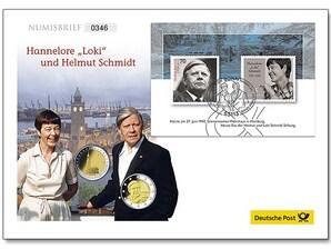 """Numisbrief: """"Hannelore 'Loki' und Helmut Schmidt"""""""