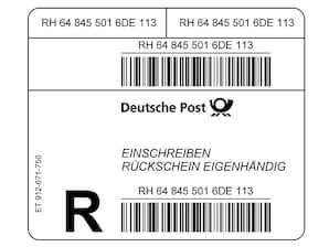 Einschreiben-Eigenhändig-Rückschein Label Rolle à 500 Stück