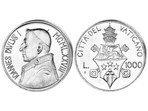"1000 Lire Silbermünze ""Papst Johannes Paul I"""