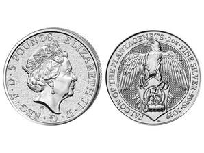 Falke von Plantagenets, 2 Oz Silber