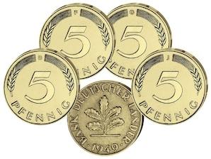 """Kursmünzen 5-Pfennig  """"Bank deutscher Länder"""" 1949, 4er-Set"""