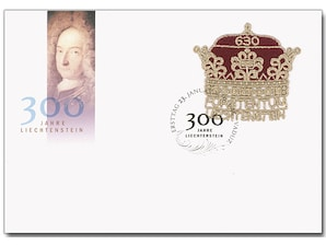 """Ersttagsbrief Jubiläumsausgabe """"300 Jahre Liechtenstein"""""""