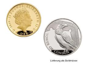 """25 Pfund Goldmünze """"Legende der Raben"""" (GB)"""
