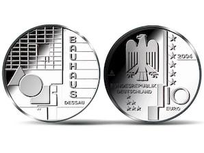 10-Euro-Münze: Bauhaus Dessau ;2004 (Spiegelglanz)