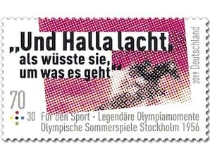 Legendäre Olympiamomente - Und Halla lacht..., Briefmarke zu 0,70 + 0,30 EUR, 10er-Bogen