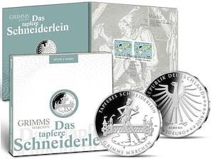 """Numisfolder Muenze und Marke """"Das Tapfere Schneiderlein"""""""