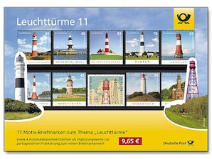 """Steckkarte """"Leuchttürme auf Briefmarken 11"""""""