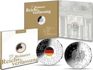 """Numisfolder Münze & Marke: """"100 Jahre Weimarer Reichsverfassung"""""""