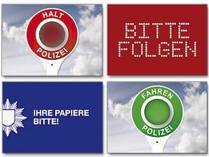 """4er-Postkarten-Set """"Polizei"""""""