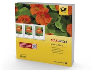 """Maxirolle """"Kapuzinerkresse"""", selbsklebende Briefmarke zu 0,80 EUR, 5.000er-Rolle"""