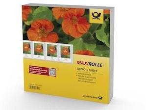 """Maxirolle """"Kapuzinerkresse"""", selbstklebende Briefmarke zu 0,80 EUR, 10.000er-Rolle"""