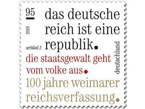 100 Jahre Weimarer Reichsverfassung, Briefmarke zu 0,95 EUR, 10er-Bogen
