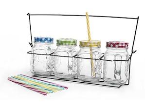 4er-Set Limonadenkrug mit Deckel