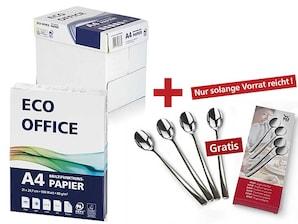 6 Kartons Eco Office Kopierpapier + 1 WMF Joghurtlöffel Boston 4er, gratis