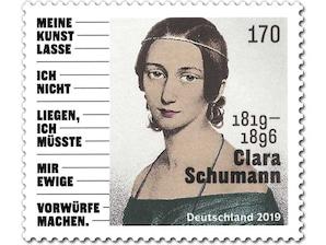 200. Geburtstag Clara Schumann, Briefmarke zu 1,70 EUR, 10er-Bogen