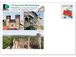 """Messebriefumschlag: """"116. Deutscher Philatelistentag, Bensheim"""" 2019"""