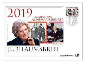 """Jubiläumsbrief """"100. Geburtstag Annemarie Renger"""""""