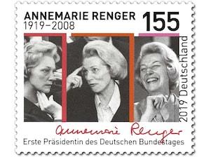 100. Geburtstag Annemarie Renger, Briefmarke zu 1,55 EUR, 10er-Bogen