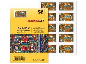 """Markenset """"Kirchenfenster - Die Geburt Christi"""", Briefmarke zu 0,80 + 0,40 EUR, 10er-Set"""