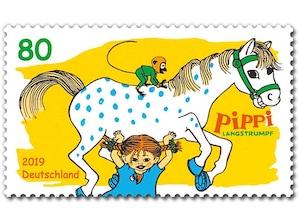 Pippi Langstrumpf, Briefmarke zu 0,80 EUR, 10er-Bogen