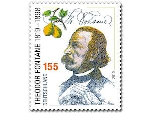 200. Geburtstag Theodor Fontane, Briefmarke zu 1,55 EUR, 10er-Bogen