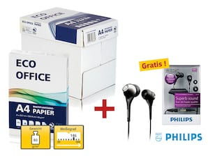 6 Kartons Eco Office Kopierpapier + Philips Kopfhörer SHE9503, gratis