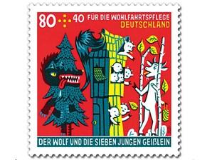 """Bild Briefmarke """"Der Wolf und die sieben jungen Geißlein - Die Gefahr"""" 0,80 EUR + 0,40 EUR"""