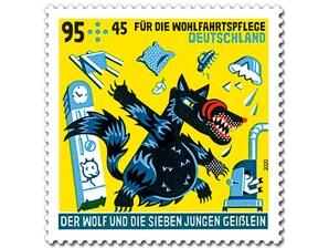"""Bild Briefmarke """"Der Wolf und die sieben jungen Geißlein - Das Unglück"""" 0,95 EUR + 0,45 EUR"""