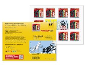 """Markenset """"Der Wolf und die sieben jungen Geißlein"""", selbstklebende Briefmarken zu 0,80m+ 0,40 EUR, 10er-Set"""