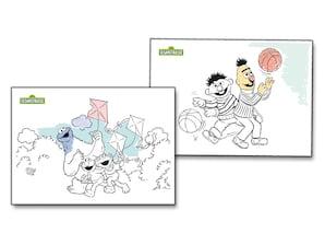 """Postkarten-Set """"Sesamstrasse"""", Ausmalmotive"""