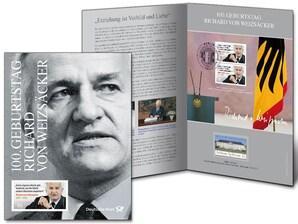 """Erinnerungblatt """"100. Geburtstag Richard von Weizsäcker"""" - Pärchen der Sondermarke """"100. Geburtstag Richard von Weizsäcker"""""""