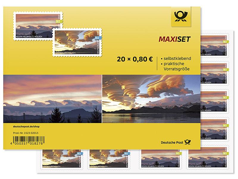Briefmarkenheft mit 2 Wolkenmotiven
