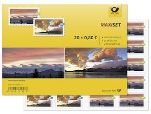 """Maxiset """"Kelvin-Helmholtz-Wolken"""", """"Lentikulariswolken"""",  Briefmarke zu 0,80 EUR, 20er-Set"""
