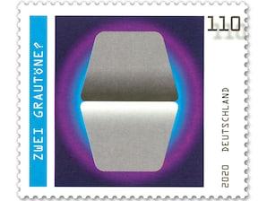 Zwei Grautöne?, nassklebende Briefmarke zu 1,10 EUR, 10er-Bogen