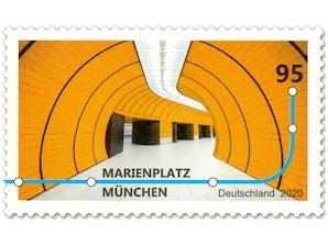 Marienplatz München, nassklebende Briefmarke zu 0,95 EUR, 10er-Bogen