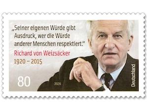 100. Geburtstag Richard von Weizsäcker, nassklebende Briefmarke zu 0,80 EUR, 10er-Bogen