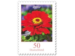 Zinnie, nassklebende Briefmarke zu 0,50 EUR, 10er-Bogen