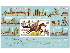 Historische Postwege, Briefmarke zu 0,80 EUR, Blockausgabe